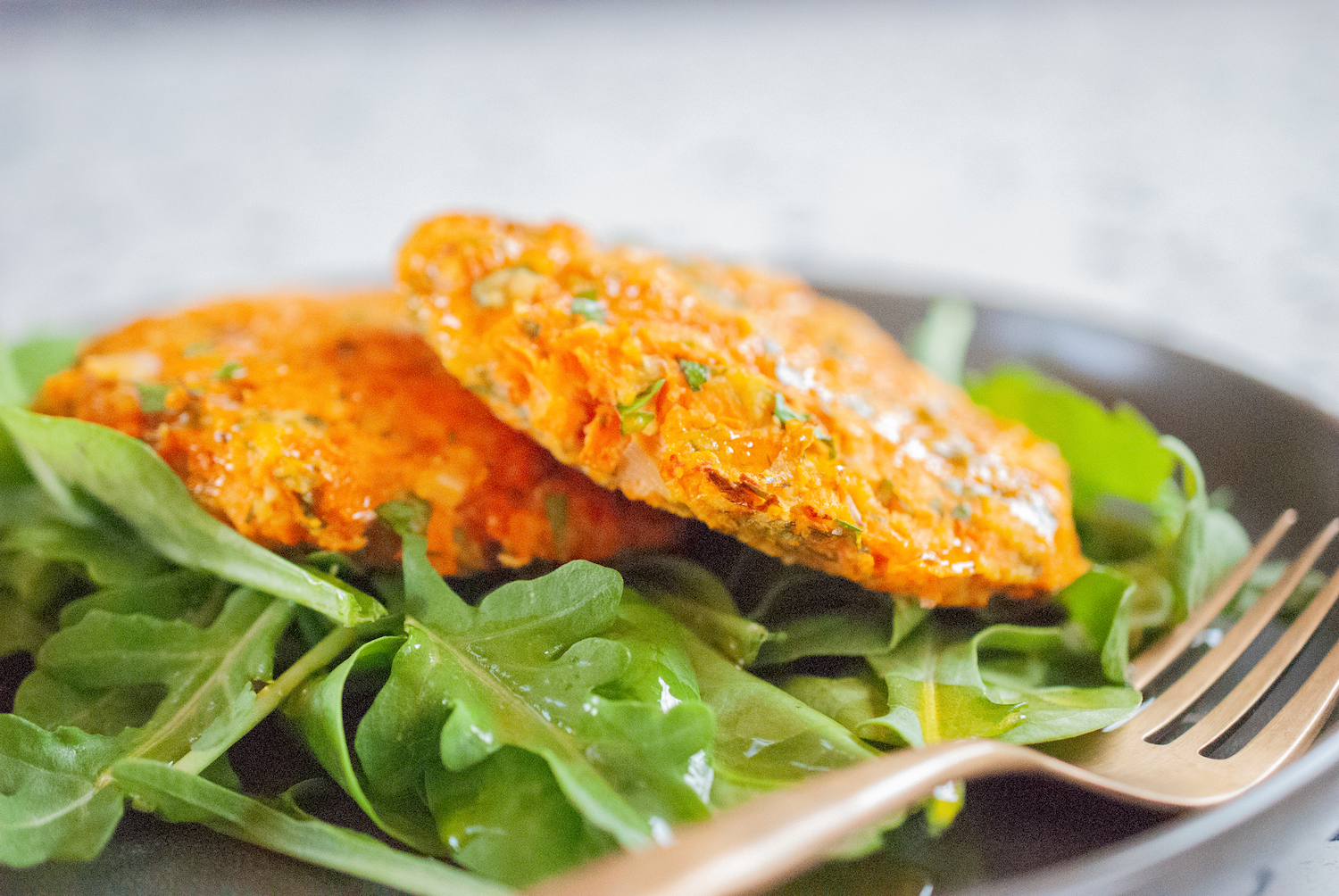 Sweet Potato Fritter on Spinach and Arugula
