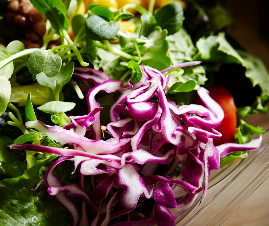 Antioxidant-rich salad with greens and red cabbage.