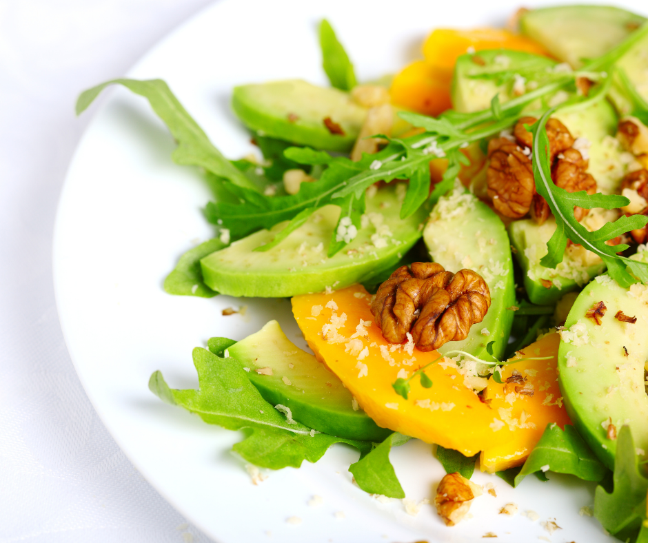 Salad with Avocado, Mango, Walnuts and Arugula